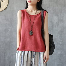 DZA Simple Net Edition Pure Cotton and Hemp Knitted Suspender vest Lady's Sleeveless Summer Retro Art Top