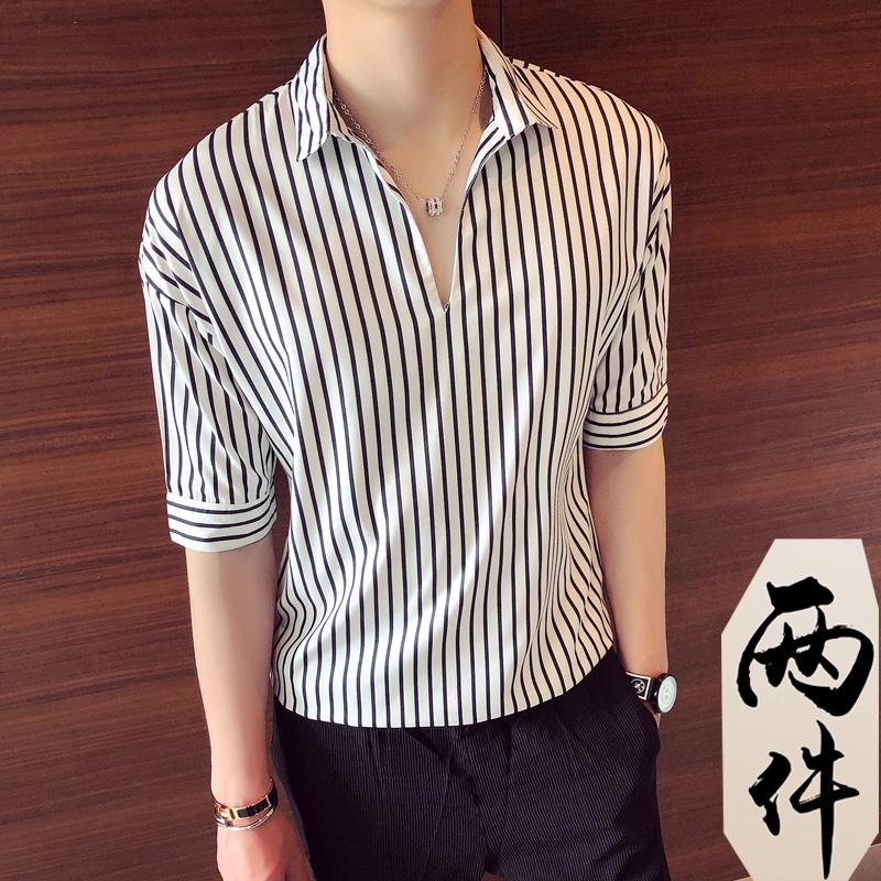 衬衫男韩版潮流薄款男士短袖上衣2021年潮男条纹衫衣宽松夏季衬衣