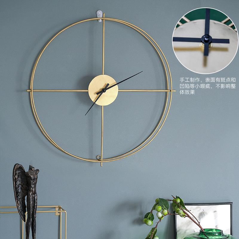 2020设计师款意式极简轻奢客厅餐厅墙面不锈钢铁艺挂钟墙面挂件