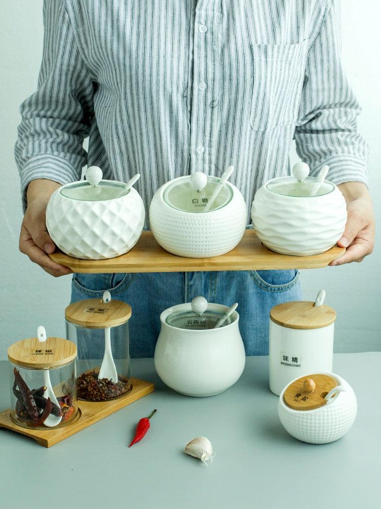 日式厨房家用陶瓷玻璃1个调料盒10-21新券