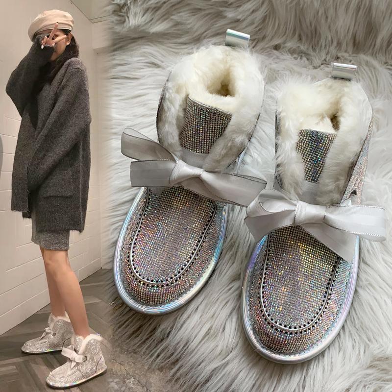 2020新款皮毛一体水钻保暖雪地靴