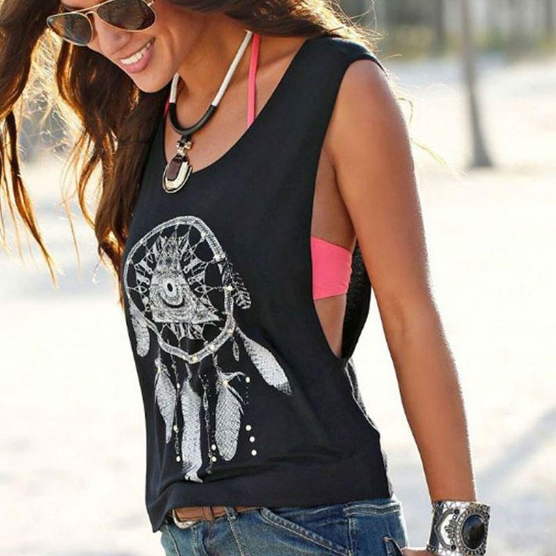 欧美风夏季新款女装羽毛印花图案休闲宽松无袖上衣背心vest women