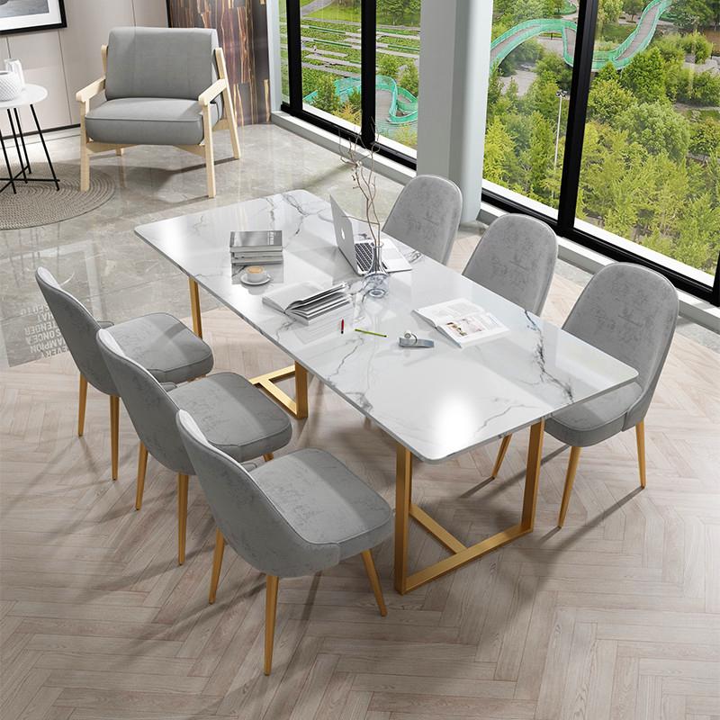 北欧大理石会议桌长桌现代简约六人长条办公桌工作台轻奢洽谈桌椅