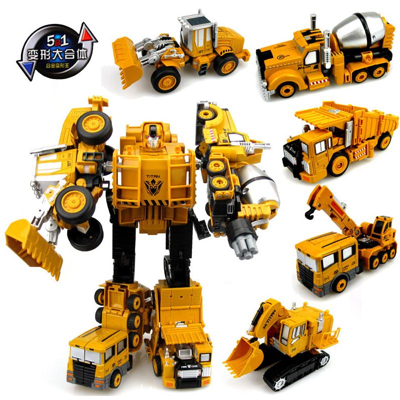 男孩儿童金刚合金工程车变形玩具