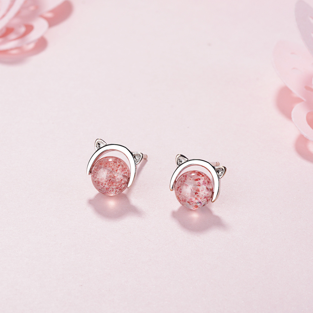 925 pure silver small fresh Earrings female cute cat strawberry crystal temperament Korean simple Earrings Valentines Day gift