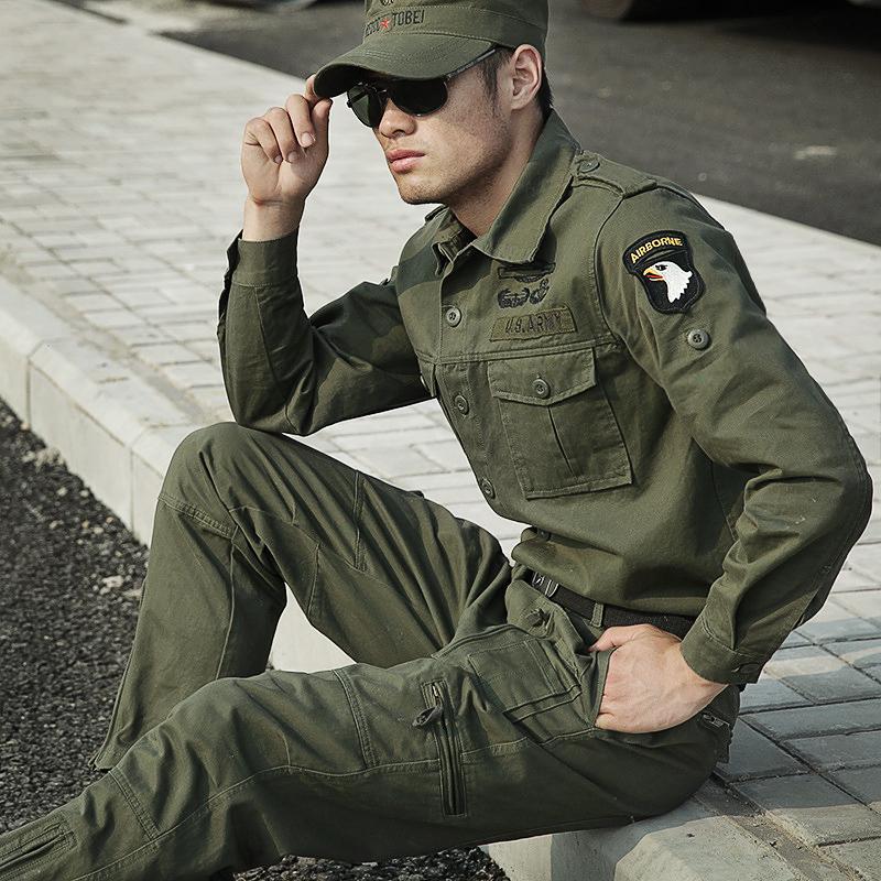 工作服套装军装男士军绿101空降师纯棉多口袋加厚春秋迷彩服套装