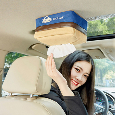 车内抽纸盒车载纸巾盒抽创意可爱天窗挂式固定帆布布艺卫生纸巾盒