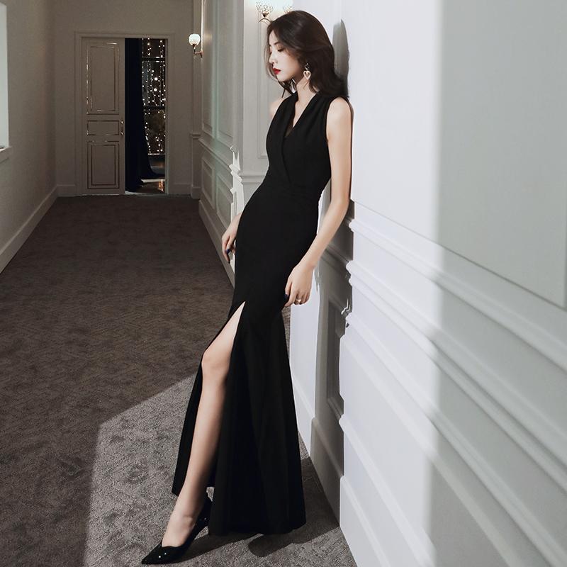宴会晚礼服小众夏季气质轻奢鱼尾黑色性感长款小礼服裙女高端名媛