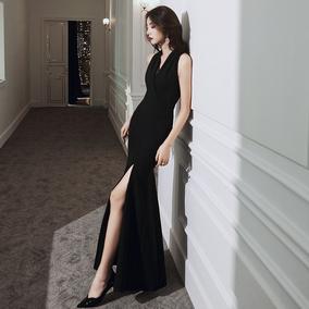 宴会小众气质轻奢鱼尾黑色女晚礼服
