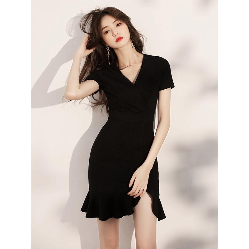 黑色小晚礼服女短款宴会气质日常款轻奢小个子连衣裙小众平时可穿
