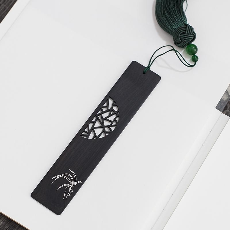 黑檀木兰花镶银丝书签 空谷幽兰花开遍世界 刻字公司标志LOGO送礼