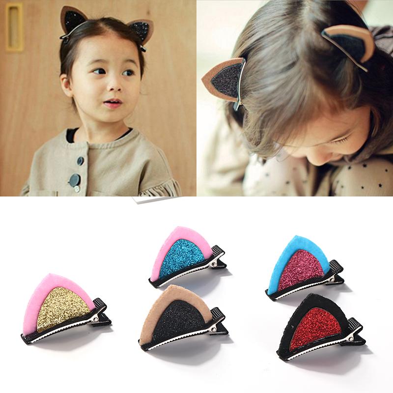 韩版小饰品立体亮片猫耳朵儿童发夹宝宝夹子头饰女童发饰发卡边夹