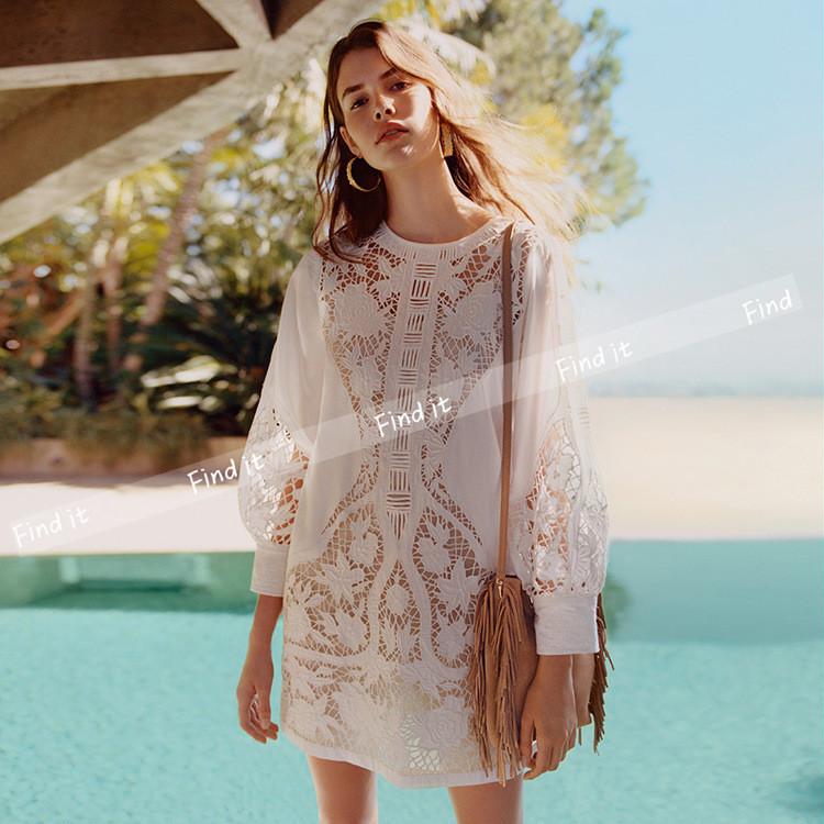 12月01日最新优惠F欧美定制现货 波西米亚 重工刺绣蕾丝勾花镂空白色连衣裙 夏新款