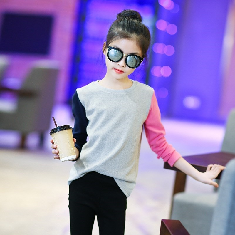 Childrens clothing may fall top 12 girls bottoming shirt 13-year-old primary school students T-shirt 8 clothes 9 girls 11 long sleeves
