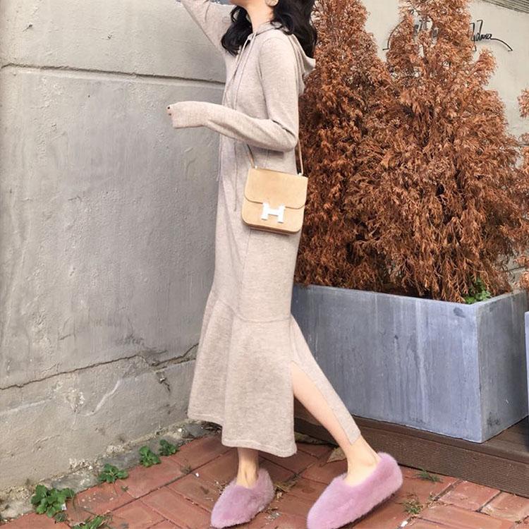 ◆安娜家◆2018冬季新款气质百搭针织裙连衣裙宽松过膝毛衣长裙女