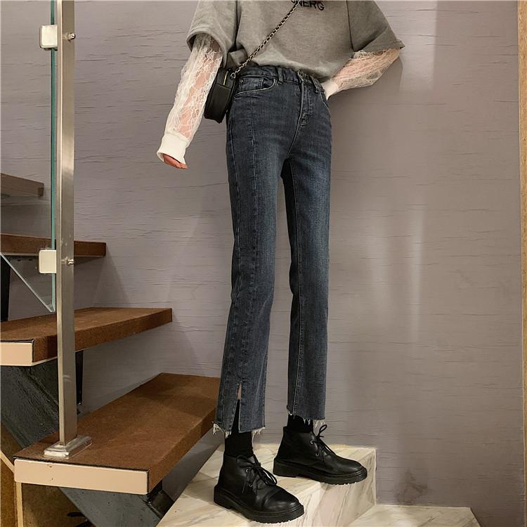 实价2020秋季新款人手一条的显瘦显腿直高腰直筒开叉牛仔裤