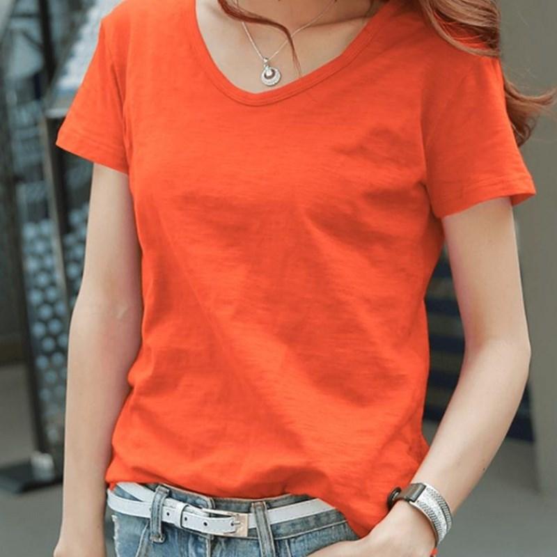 秋季节棉宽松韩范橙色v领夏t恤101.40元包邮