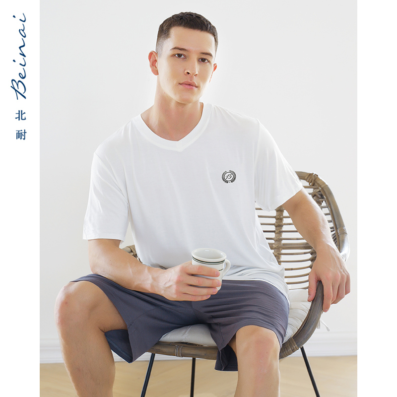 モーダル男性パジャマルームウェア夏の半袖の薄いカジュアルスポーツ青年が外でスーツを着ることができます。