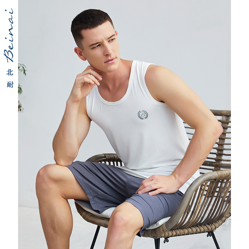 男性の夏のモザイルのパジャマの半袖のスーツの薄い金の袖なしのベストの青年のスポーツの大きいサイズの綿の家と住宅の服
