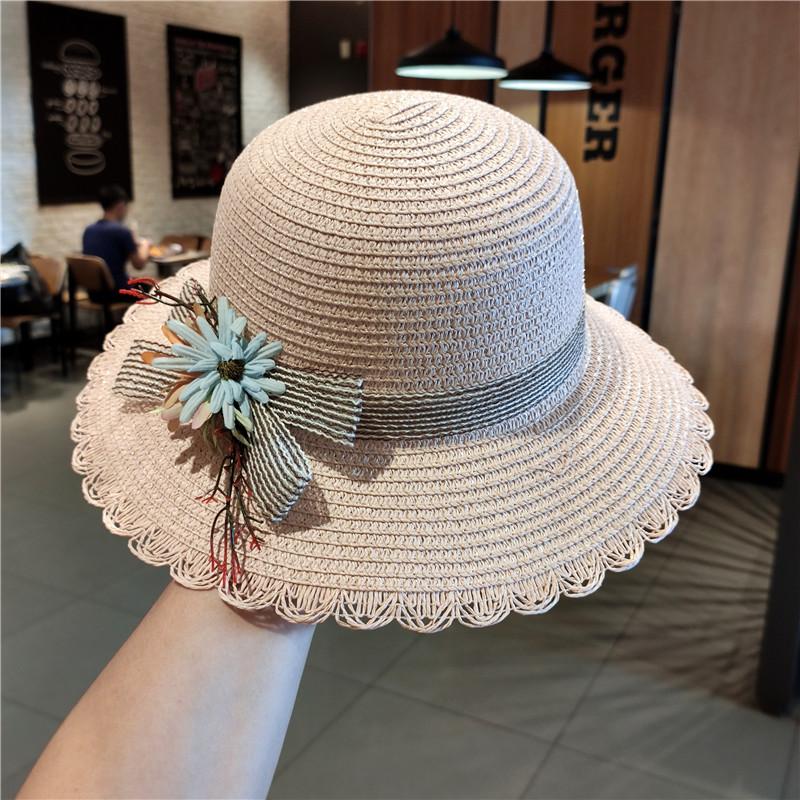 花朵草帽女夏季沙滩帽韩版可折叠出游海边防晒遮阳帽小清新太阳帽