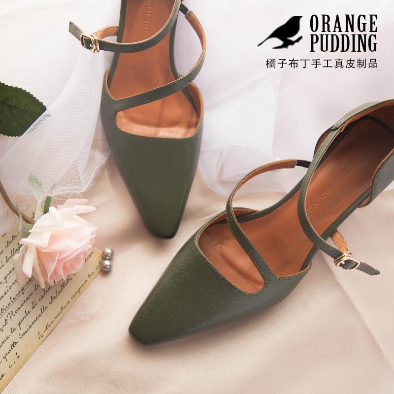11-29新券橘子布丁复古vintage墨绿小方头春夏新款女凉鞋方高跟中空女鞋L98