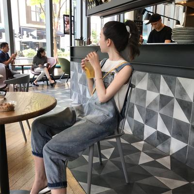 孕妇夏装背带裤套装时尚外出夏天宽松孕妇裤子夏季薄款外穿牛仔裤