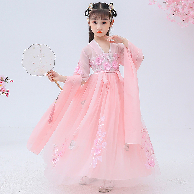 Han Tang Han suit Chinese style casual girl Han element embroidery fairy daily short sleeve