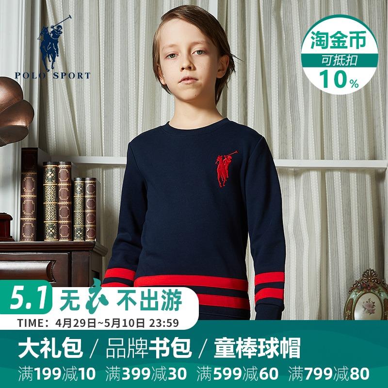 Polo sport儿童2019春装中大童纯色休闲套头纯棉运动长袖男童卫衣