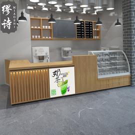 简约定制收银台水吧台商用奶茶店吧台水果店操作台蛋糕店前台柜台图片