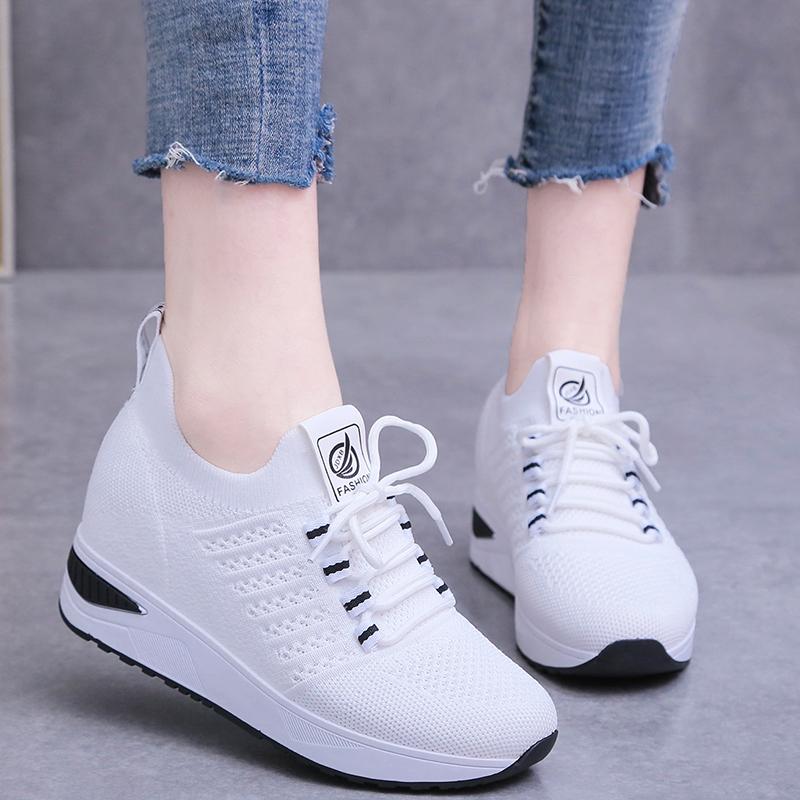 内增高2021春季休闲白色妈妈运动鞋