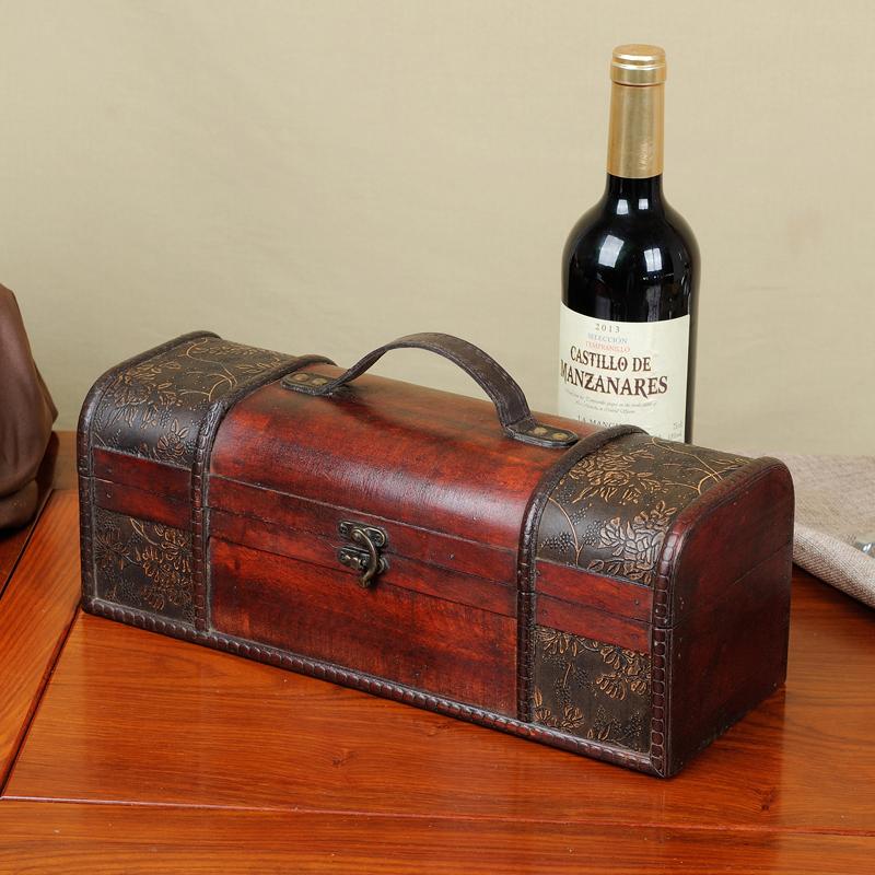 红酒盒子包装盒高档单只礼盒木质葡萄酒双支装通用木盒皮盒箱定制 Изображение 1