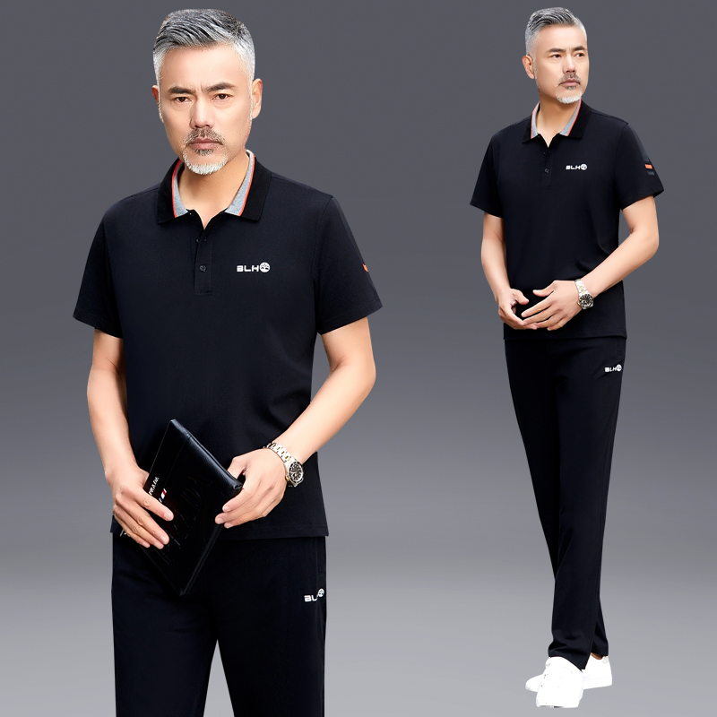 X0anta0c brand father Summer Short Sleeve T-Shirt Polo middle aged mens leisure sports suit summer width