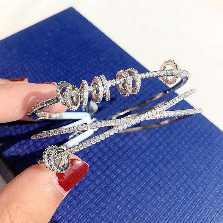 高档欧美s925纯银时来运转手镯女ins潮网红时尚个性多层圆环镶钻