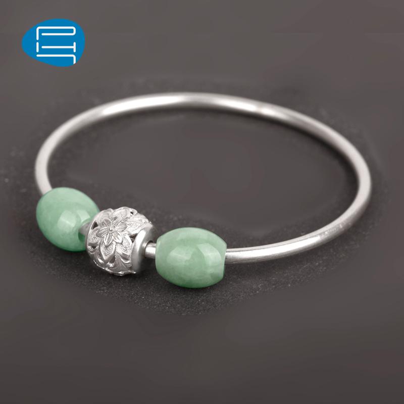 正品PH7银饰品925银手镯女气质翡翠串珠银手环手环花朵银球镯子送