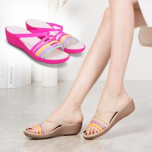 果冻沙滩鞋女凉鞋坡跟夏季洞洞凉鞋鱼嘴露趾防滑凉鞋塑料凉拖鞋女