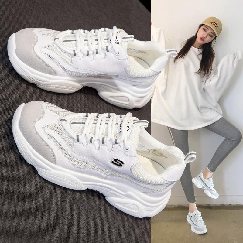 夏季2019新款白色老爹鞋女ins潮网红脏脏增高厚底透气网面运动鞋