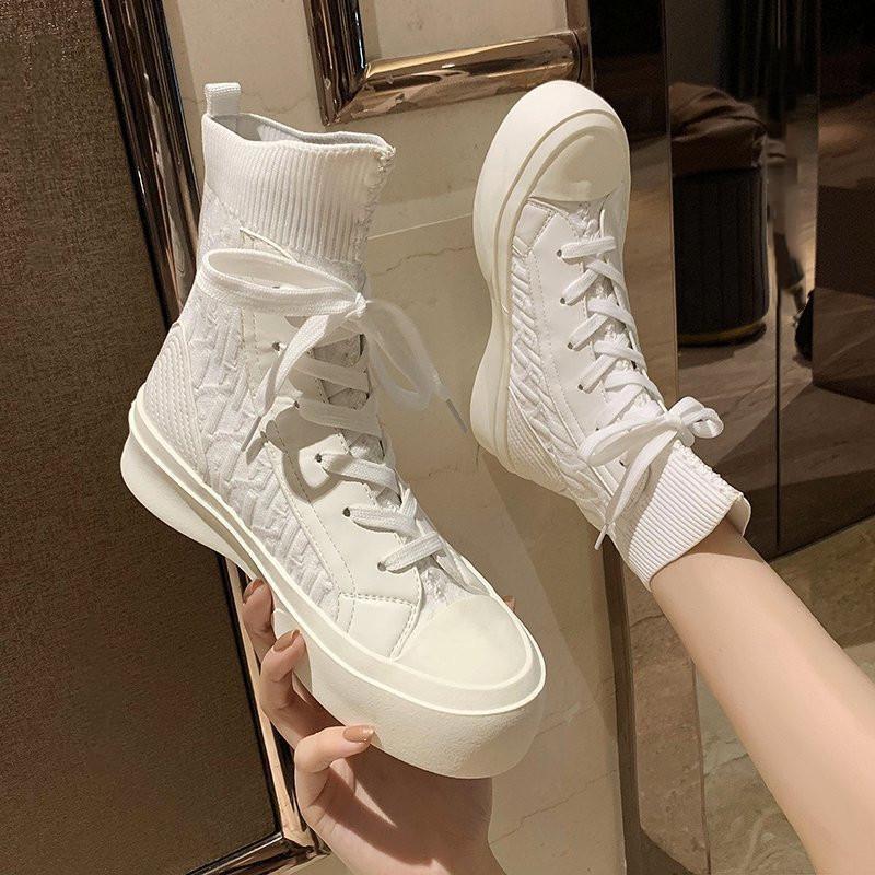 高帮鞋女白色针织袜子鞋2021夏秋季新款透气平底百搭休闲板鞋短靴