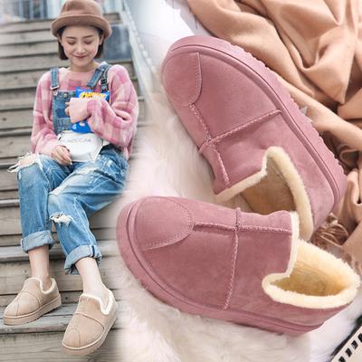 棉鞋女冬季学生面包鞋女加绒短靴韩版百搭雪地靴女短筒平底裸靴子