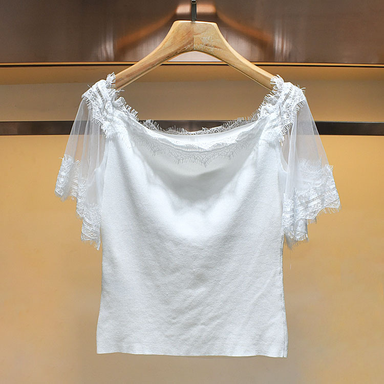 Haute Couture 2020 summer new lace stitching off shoulder T-shirt short sleeve blouse