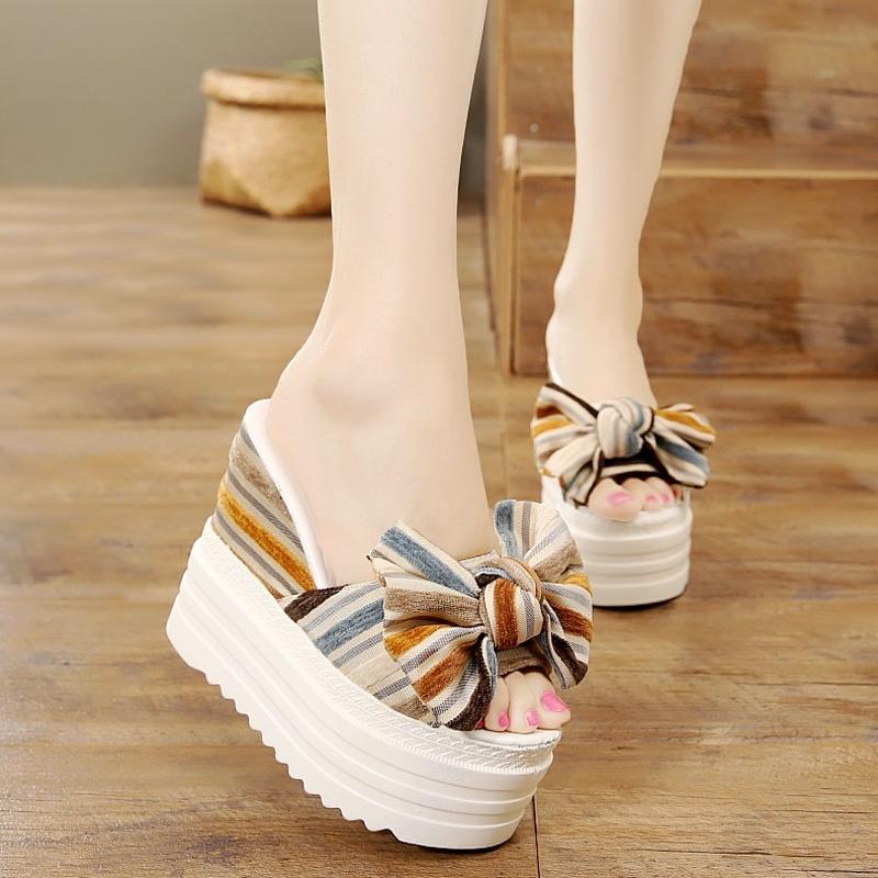 条纹布面蝴蝶结韩版松糕跟夏季厚底女拖鞋韩版防水台超高跟凉鞋拖