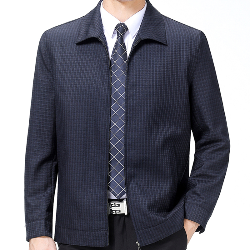 Hengyuanxiang wool jacket mens middle-aged and old mens oversized fathers spring and autumn thin business leisure Lapel coat