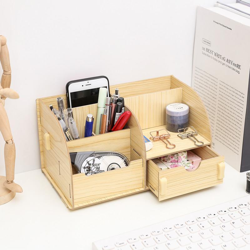 创意桌面木质办公组合拼装收纳盒