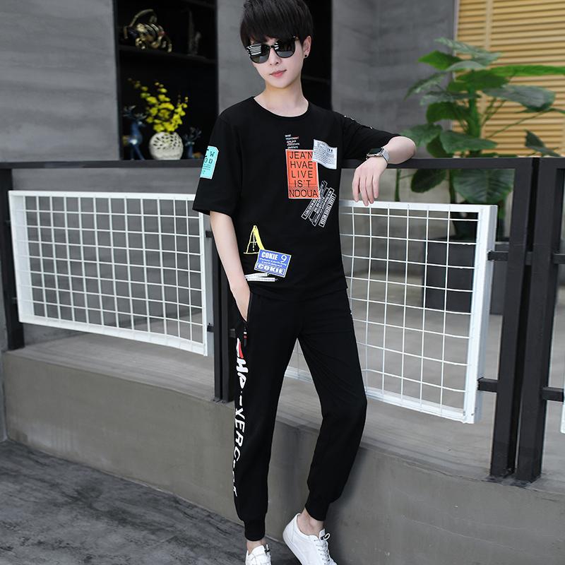 夏款韩版潮流字母块短袖九分裤休闲运动套装套服218-8 TZ7580-P63