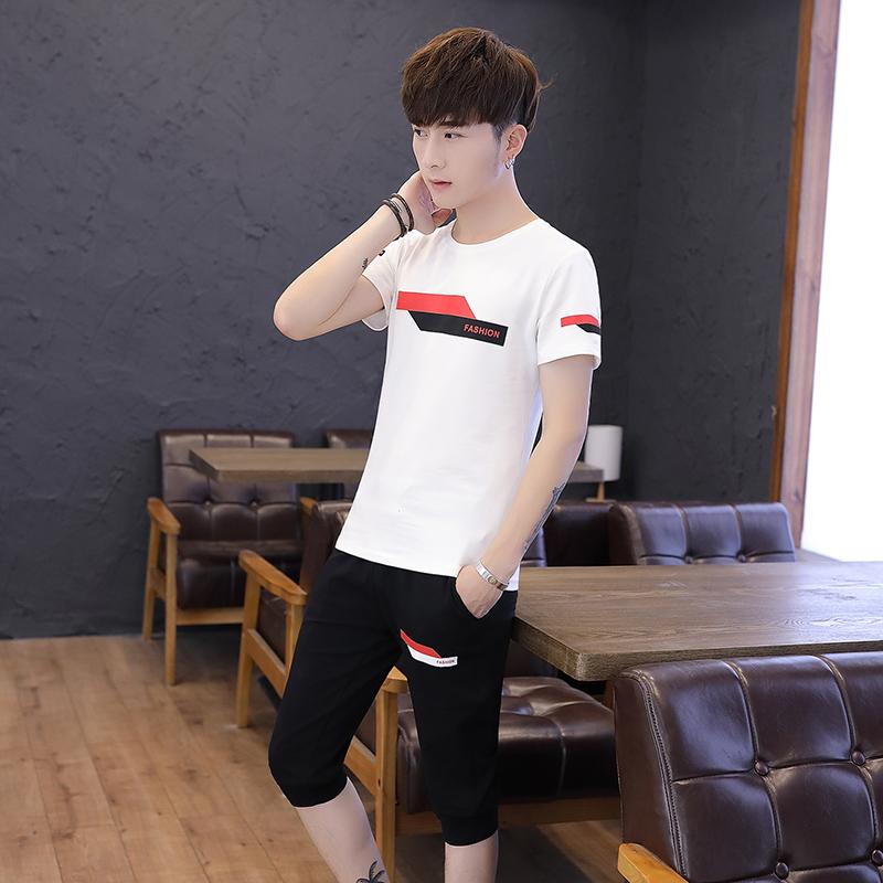 夏款韩版潮流阶梯图圆领短袖七分裤休闲运动套装 218-8 TZ19-P50