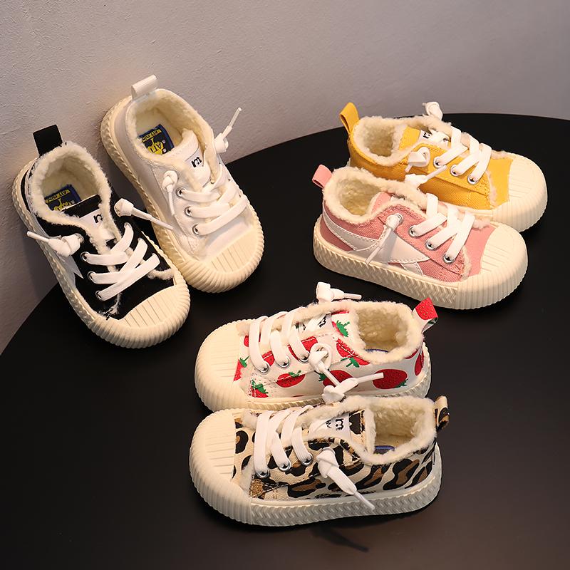 冬季儿童加绒帆布鞋宝宝幼儿园一脚蹬保暖布鞋男女童时尚豹纹板鞋