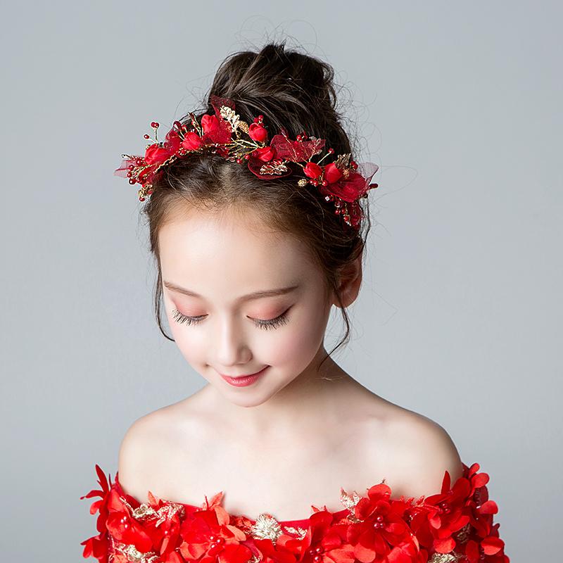 (用35元券)女童红色花朵头饰配饰儿童冰雪起源演出头箍饰品花童婚纱发箍发饰