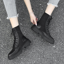 工装靴薄款chic夏季马丁靴女英伦风学生厚底透气机车靴子女短靴筒