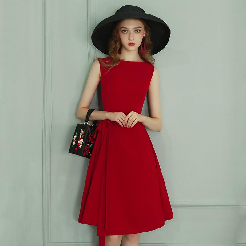 红色小礼服女2021气质法式平时可穿短款敬酒服新娘日常时尚连衣裙