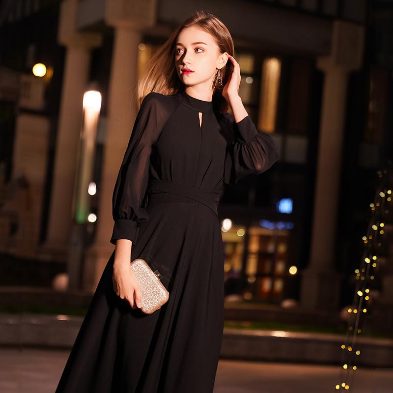 黑色女2020新款平时宴会法式晚礼服
