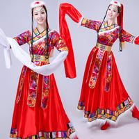 新款藏族舞蹈服演出服装女成人藏式广场舞套装西藏衣服民族风水袖